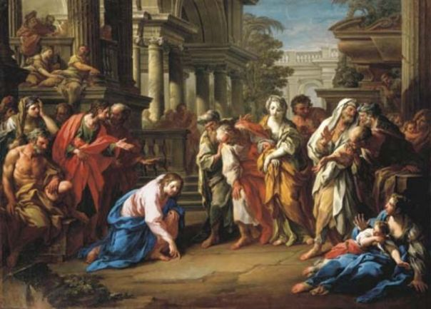 woman+caught+in+adultery+sebastiano+conca+1741