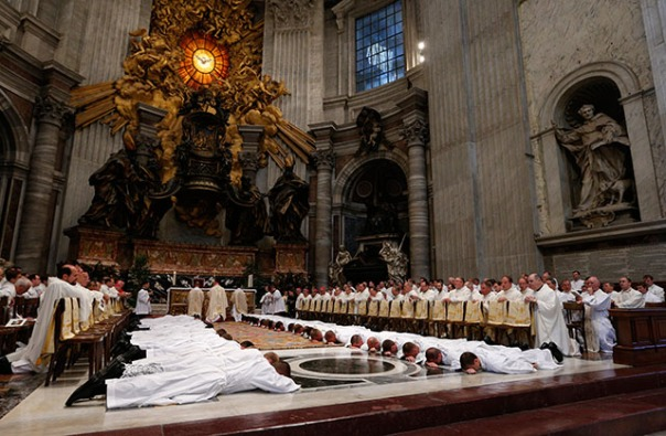 Seminarians from Pontifical North American College ordained as deacons in St. Peter's Basilica at Vatican